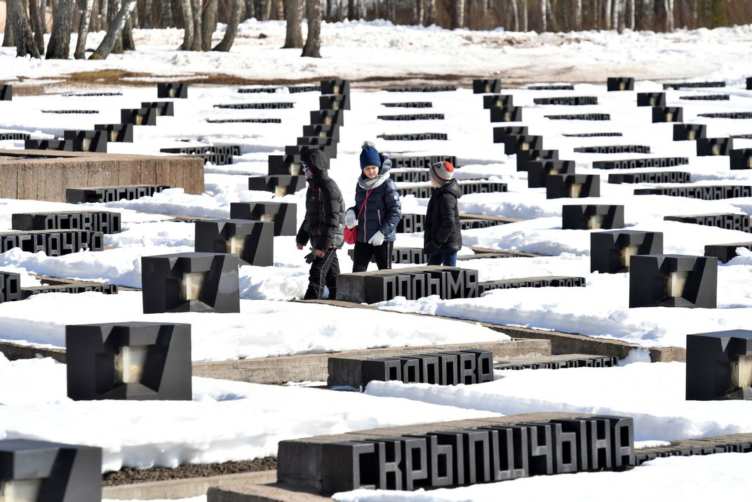 Symbolic graveyard that contains dirt from 186 razed Belarusian villages
