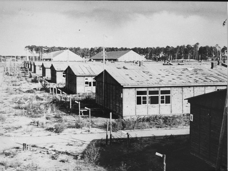 A black and white image of low rectangular buildings with peaked roofs, grassy dirt ground, black windows and shadows