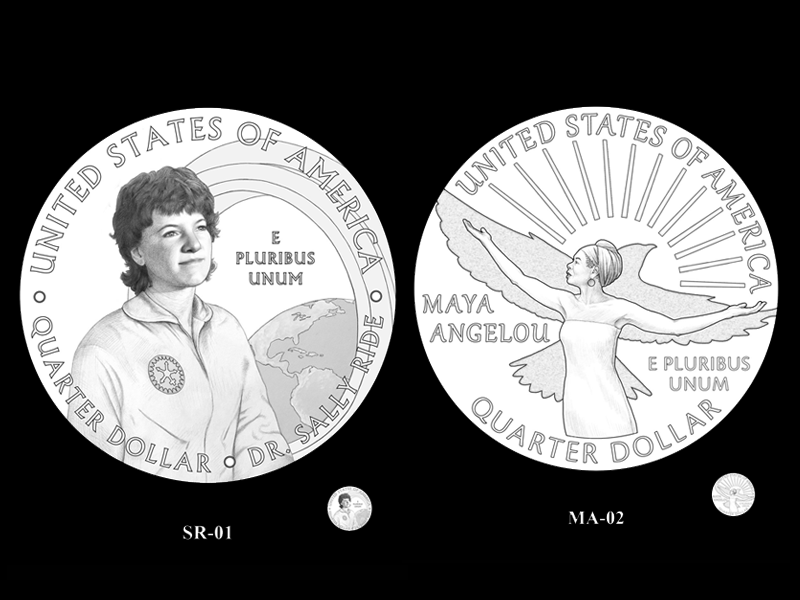 Quarter designs for Maya Angelou and Sally Ride