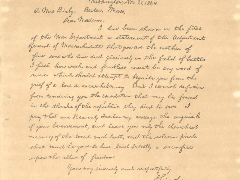 Was this famous lincoln letter written by his secretary smart after a century of rumors textual analysis suggests the bixby letter sent to a grieving mother was penned by john hay expocarfo Image collections