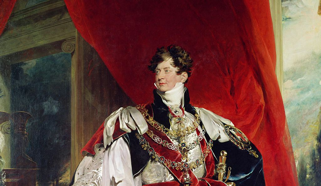 The Prince Regent, later George IV, in his garter robes by Sir Thomas Lawrence.
