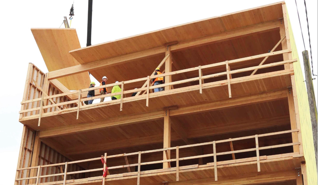 Albina Yard's construction uses wood as structural elements--walls, supports and floors.
