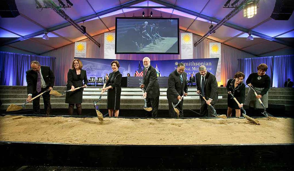 Secretary Clough, former First Lady Laura Bush, museum director Lonnie Bunch and other dignitaries break ground for the new museum.