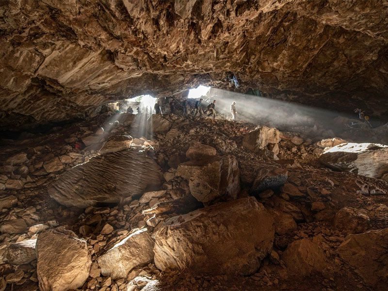 Sunlight shines into Chiquihuite cave