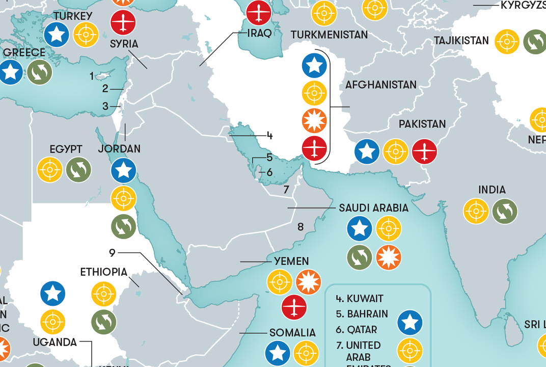 This Map Shows Where In The World The Us Military Is Combatting - Afghanistan-us-bases-map