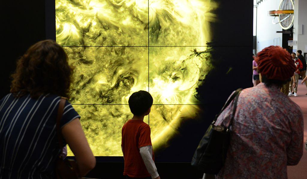 "The Museum is normally chaotic with a lot of energetic children. The most someone spends on any particular item is 30 seconds, says curator David DeVorkin. But with the Dynamic Sun, ""the linger time is longer than what we normally see — it goes up sometimes to a few minutes."""