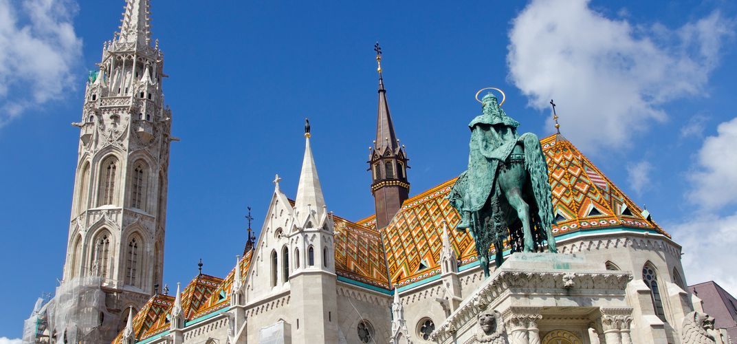 The Matthias Church, located on the Pest side of Budapest