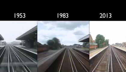 Time-Traveling Time Lapse Takes the Same Train Ride in 1953, 1983 And 2013
