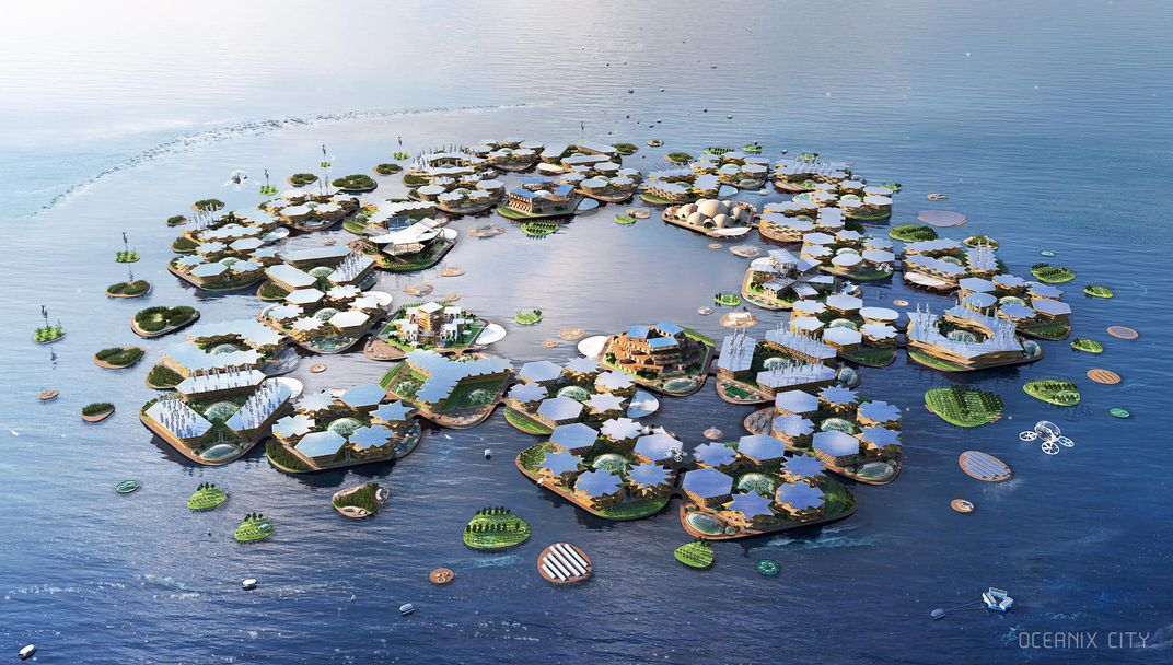 Rendering of Oceanix City, a self-sustaining floating settlement