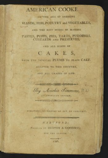 The title page of American Cookery