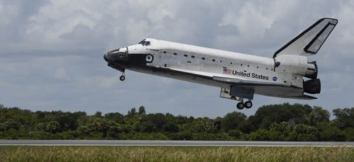 Endeavour returns to Earth after 12 days in space.