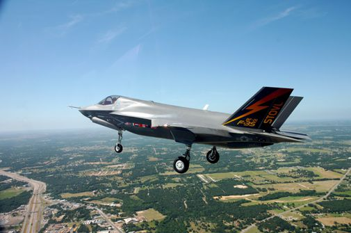 The vertical variant of the Joint Strike Fighter takes off.