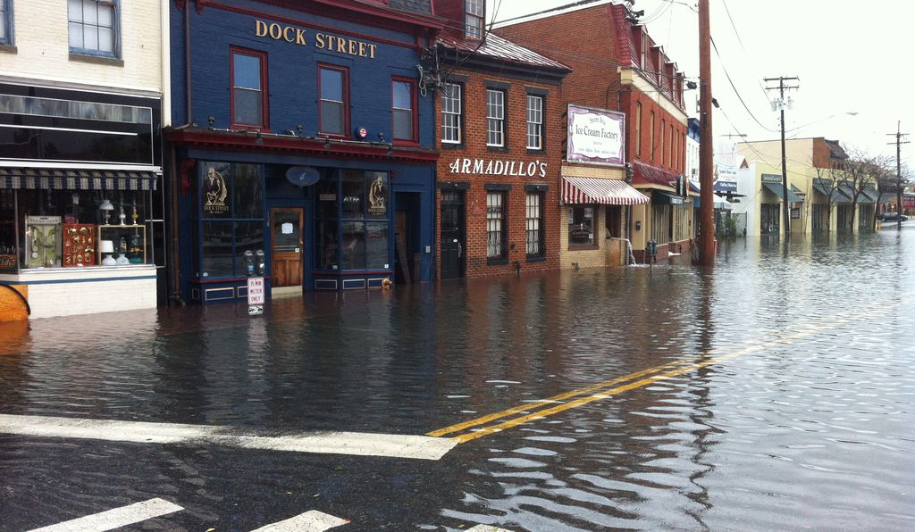 Extensive flooding in downtown Annapolis after Hurricane Sandy.