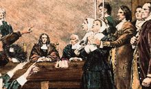 A girl is accused during the Salem Witch Trials