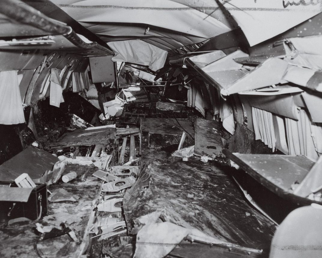 ruined cabin of an airliner