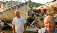 Scrapped fishing boats in Fort Bragg