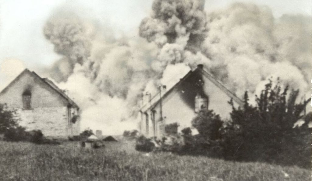 The destruction of Lidice, Czechoslovakia, in 1942, in a propaganda photograph released by the Nazis.