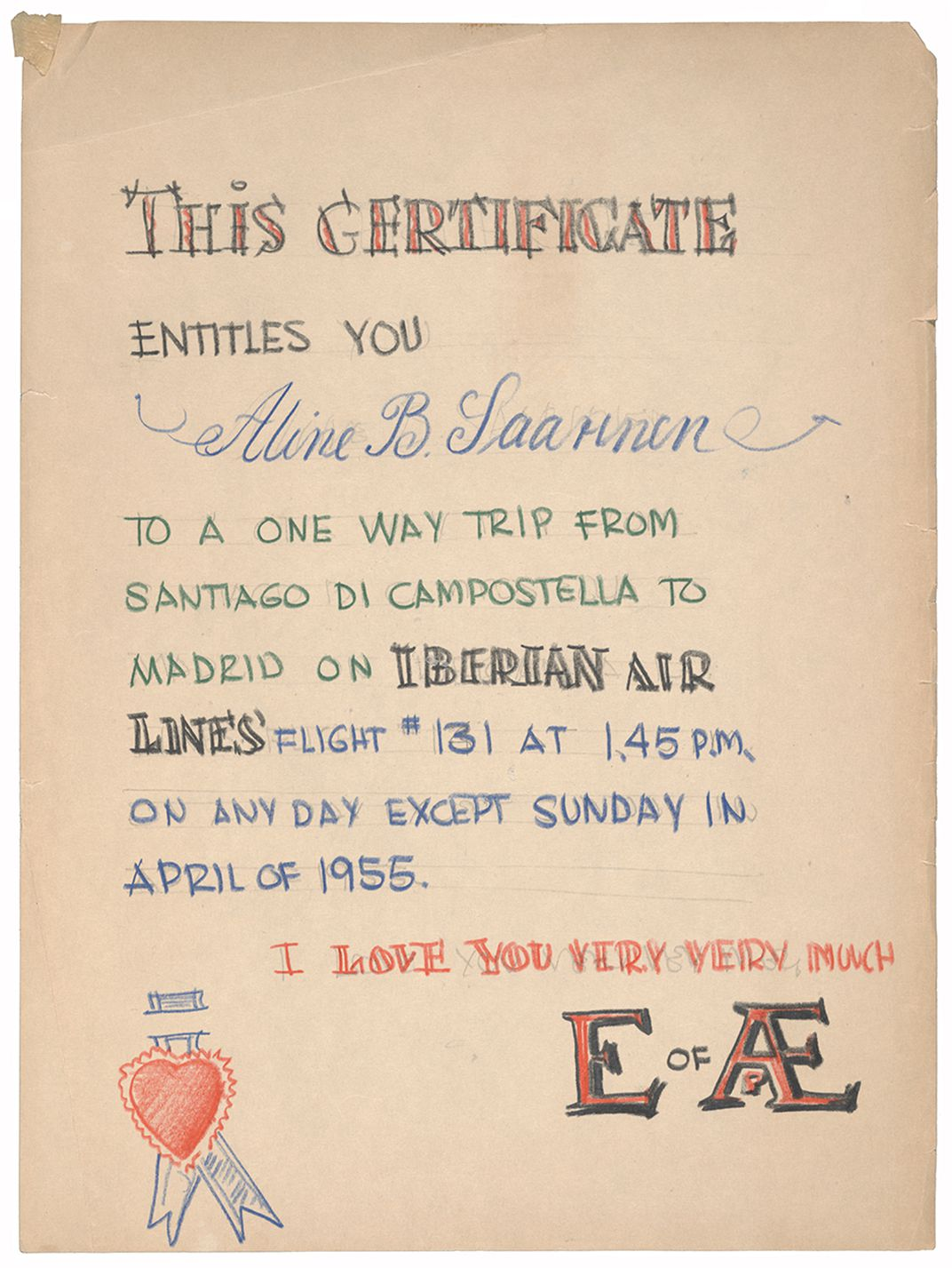 Certificate for Aline Saarinen made by Eero Saarinen