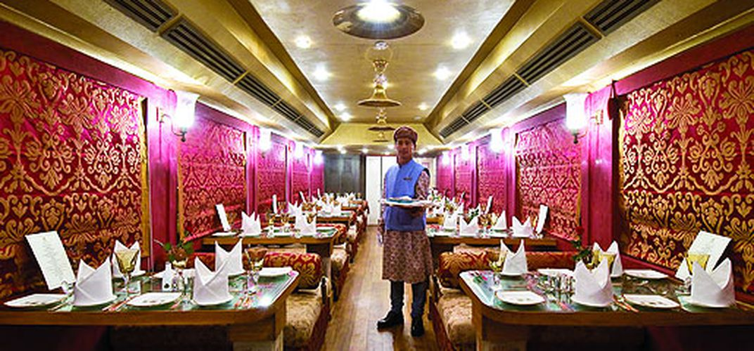 The dining car of Royal Rajasthan on Wheels