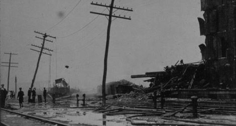 Aftermath of the Black Tom explosion on July 30, 1916