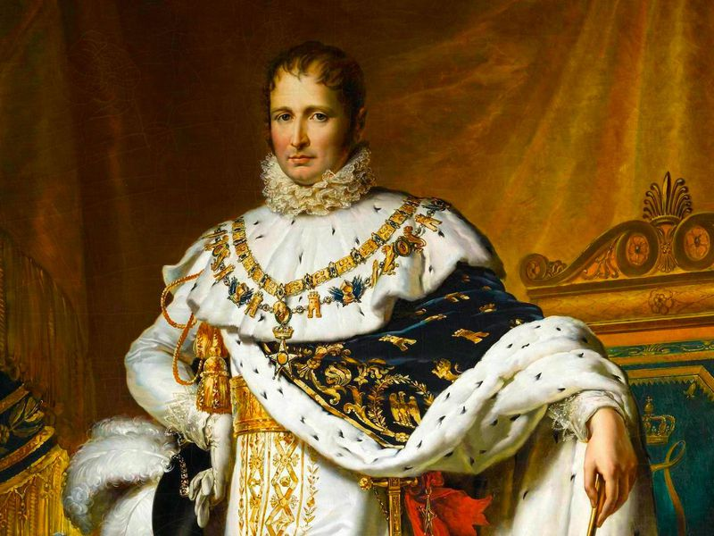 A state portrait of Bonaparte, standing in a regal position bedecked in extravagant furs, finery, gold, and white silk; he holds a scepter in one hand and stands in front of an elegant gold curtain