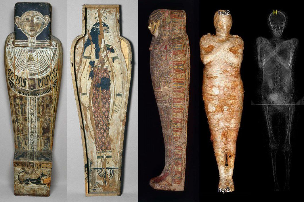Mummy sarcophagus and X-ray scan
