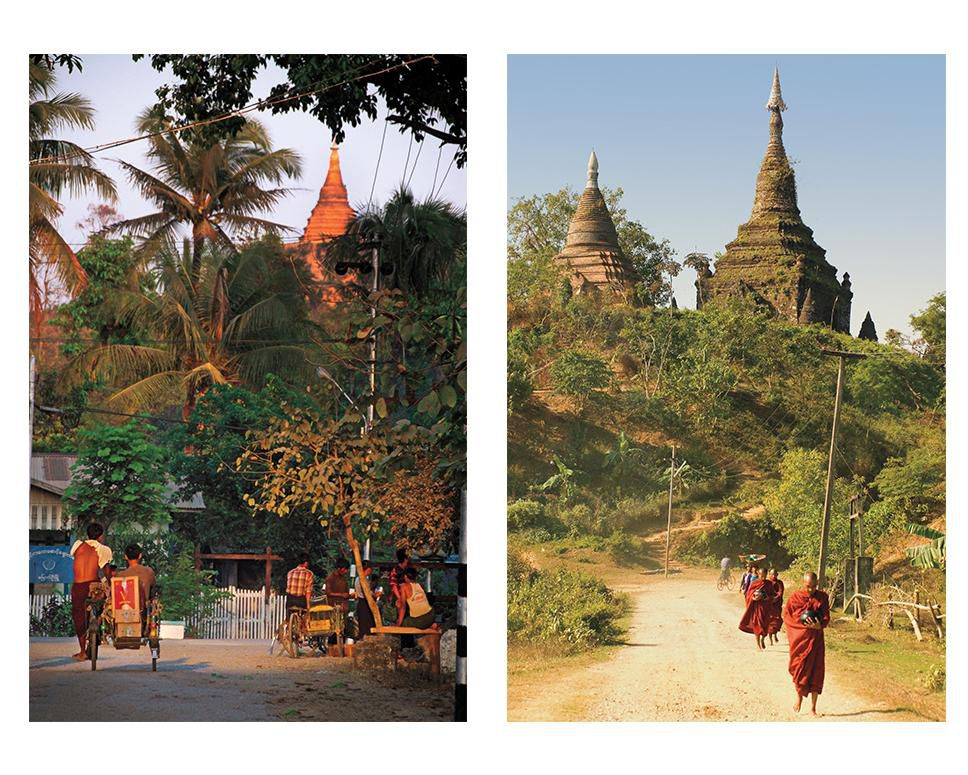 Monks near Kothaung temple / Mrauk U residents