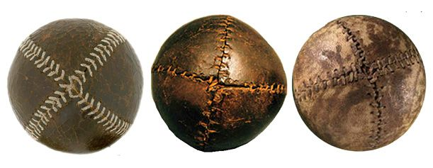 "Examples of the ""lemon peel"" baseball"