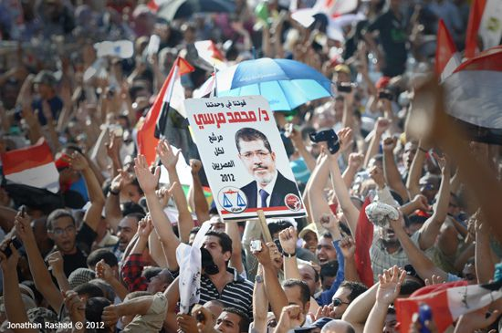 Supporters of former Egyptian President Mohamed Morsi celebrate his 2012 election.