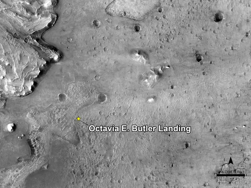 A photo of the Jezero Crater where the Mars Perseverance rover landed