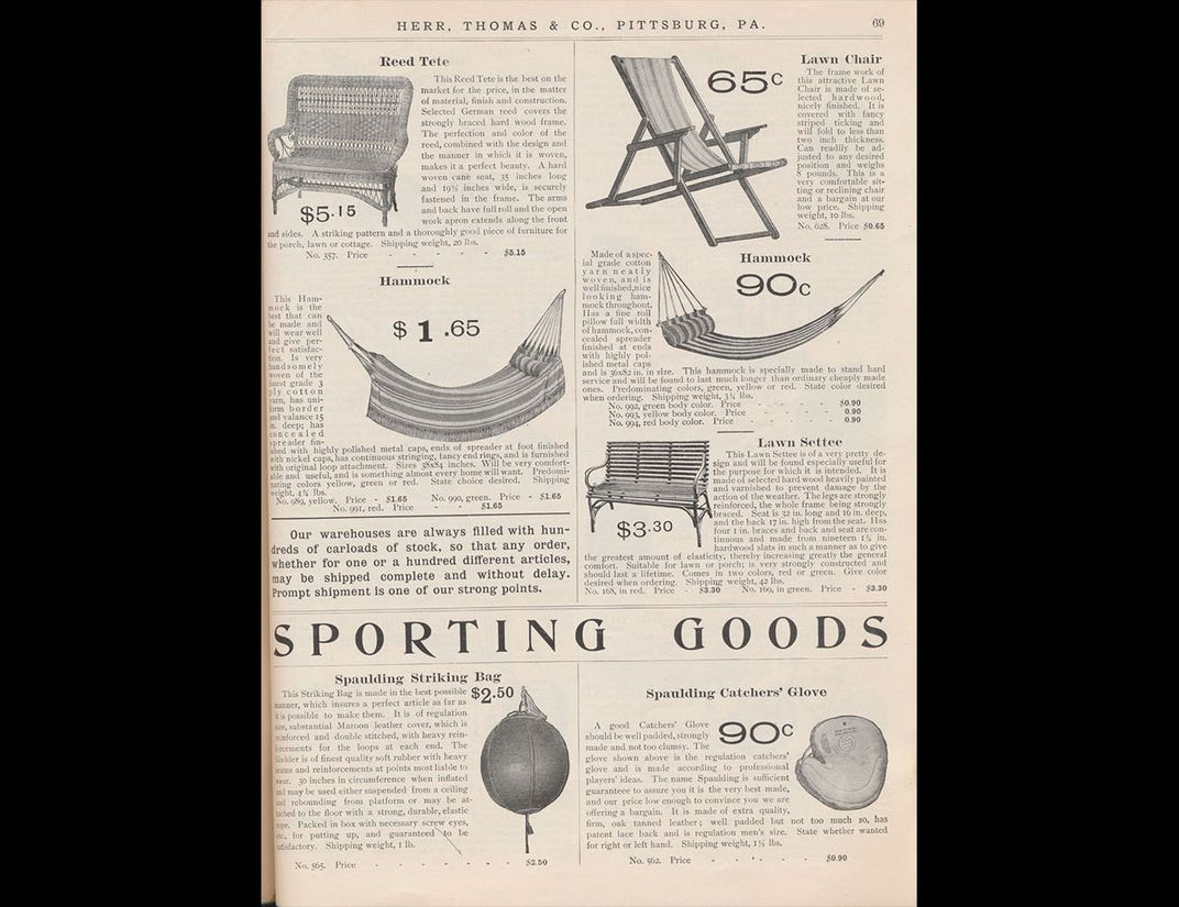 Catalog page showing various styles of hammocks.