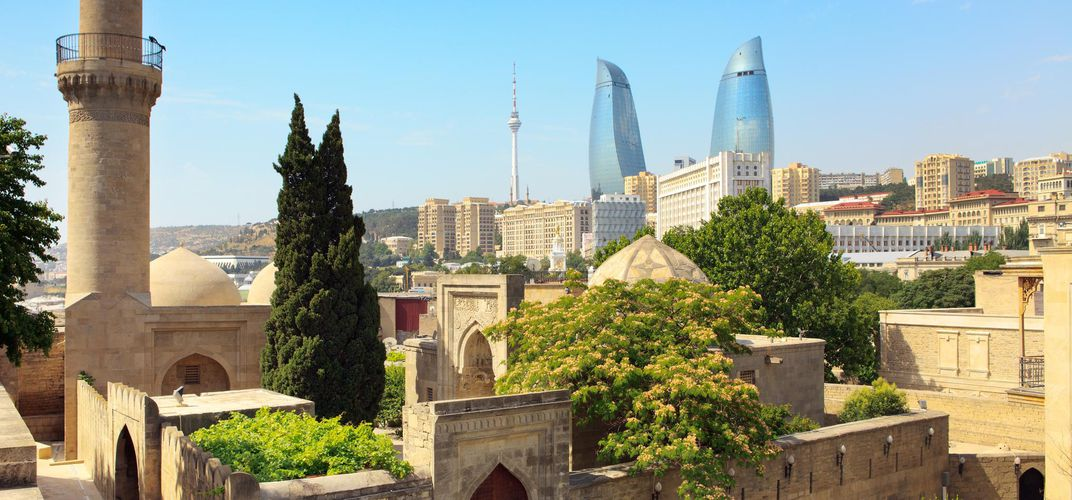 Old and new in Baku, Azerbaijan