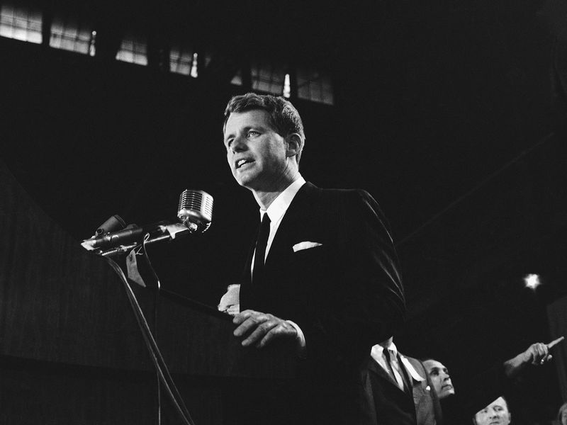 Robert F. Kennedy accepts the Democratic nomination as a candidate for the U.S. Senate in 1964.
