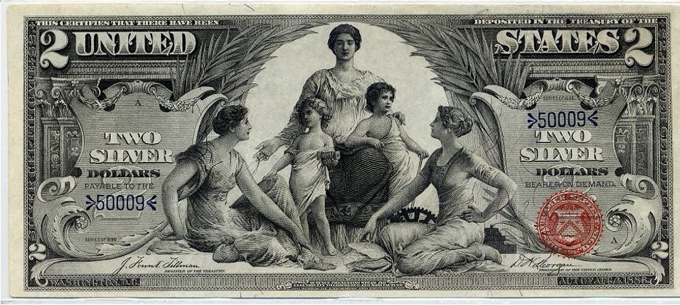 Obverse of 1896 $2 silver certificate: Science Presenting Steam and Electricity to Commerce and Manufacture, Design by Edwin H. Blashfield, with Thomas Morris, engraved by George Smillie and Charles Schlecht, black ink on paper