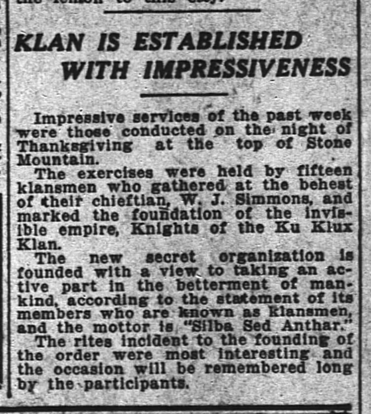 A small article reads KLAN IS ESTABLISHED WITH IMPRESSIVENESS, describes revival of Klan in positive light