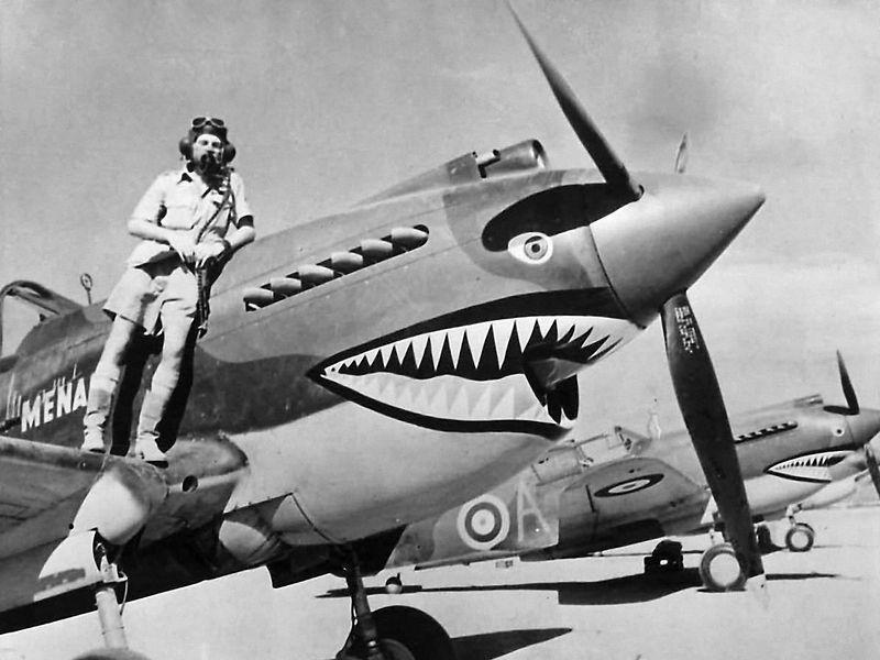 flight Lieutenant Neville Bowker and plane with shark art