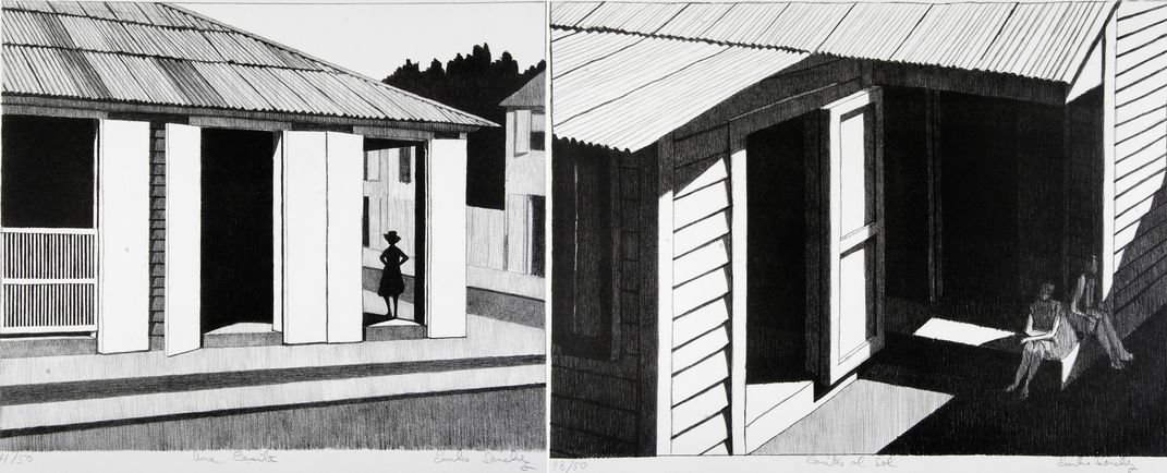 Two black and white lithographs by Emilio Sanchez. On the left a woman insde the doorway of a house standing in a shadow. On the right, two women sitting on a porch.