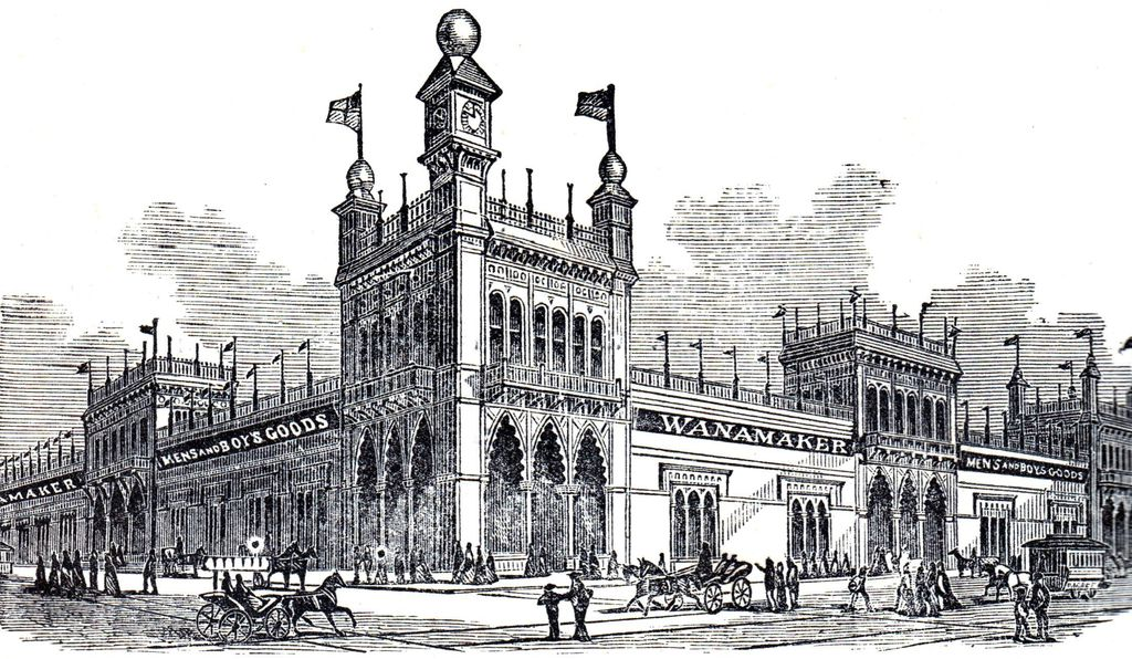 An engraving of Wanamaker's in 1876