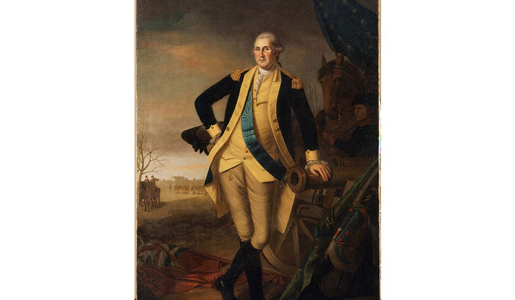 Peale painted this symbolic work to commemorate Washington's victories at Trenton and Princeton. He made a number of replicas, most of which are full-length, and feature Princeton in the background.