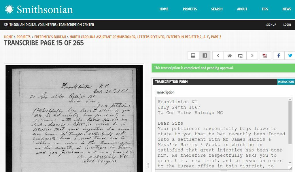 The Douglass Day event features an online transcribe-a-thon, a crowdsourcing effort that invites participants to log in and transcribe the recently digitized papers from the U.S. Freedmen's Bureau.