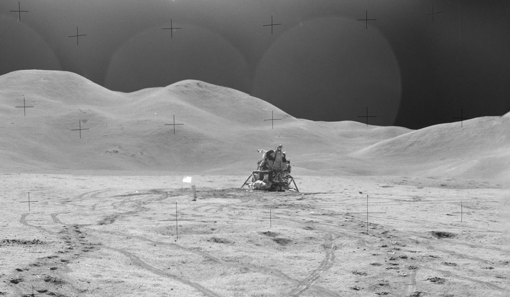 The crew of Apollo 15 named the mountains in the background of this image of their landing site the Swann Range, in honor of Gordon Swann, PI for the Apollo 15 field geology experiment.