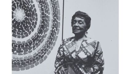 Photograph of Alma Thomas at Whitney Museum of American Art exhibition opening (detail), 1972 / unidentified photographer. Alma Thomas papers, circa 1894-2001. Archives of American Art, Smithsonian Institution.