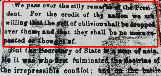 "An editorial that critiqued Lincoln's Gettysburg Address as ""silly remarks."""