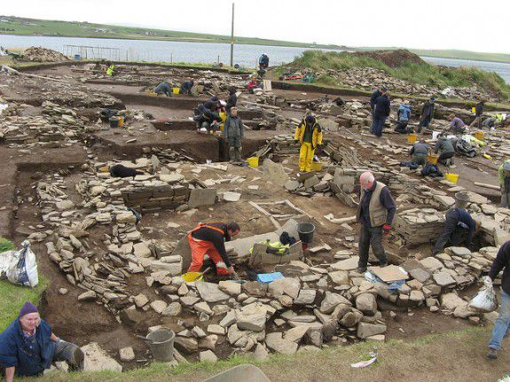 Archaeologists excavate the ruins.