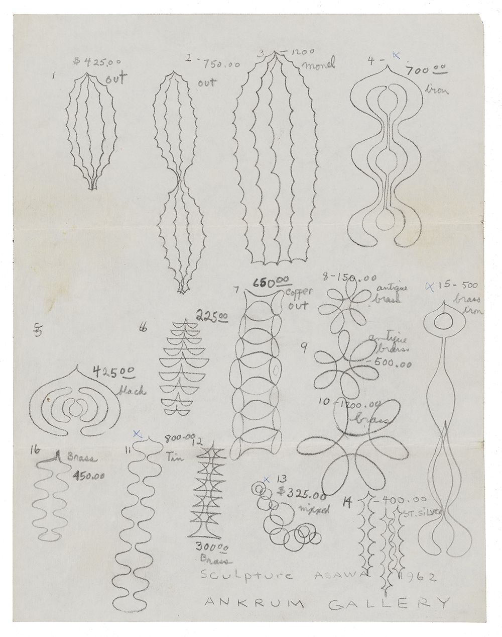 Pencil line drawings of sculptural forms numbered with notes.