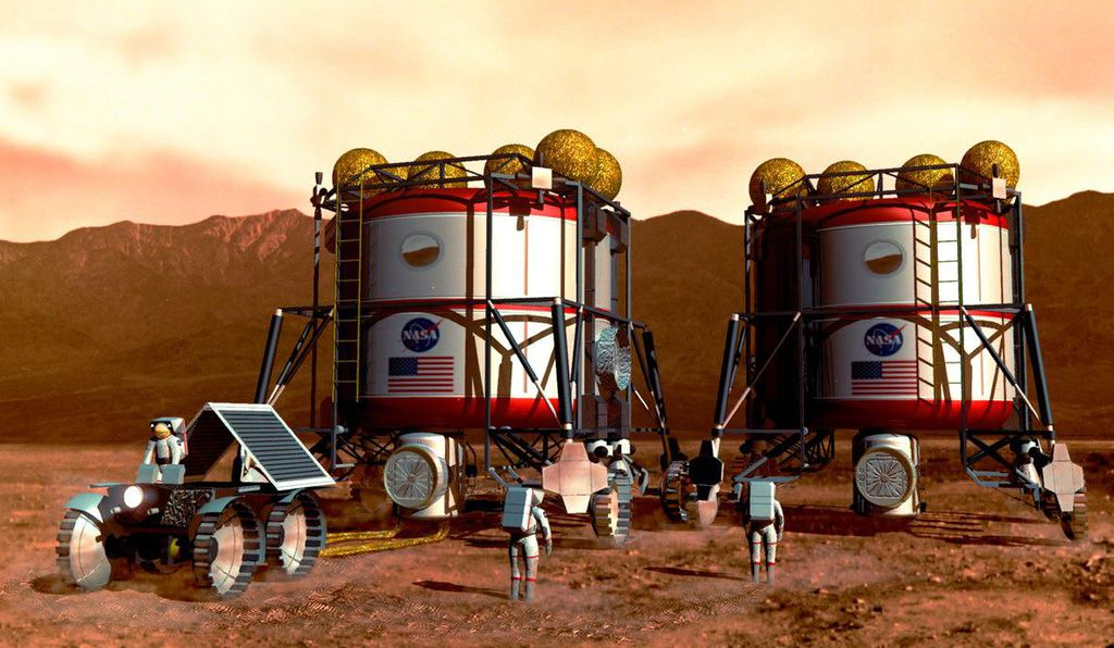 Using automated rovers, a Mars crew would collect rock samples for analysis in a small laboratory set up in their habitat module, seeking information in search of water and subterranean life.