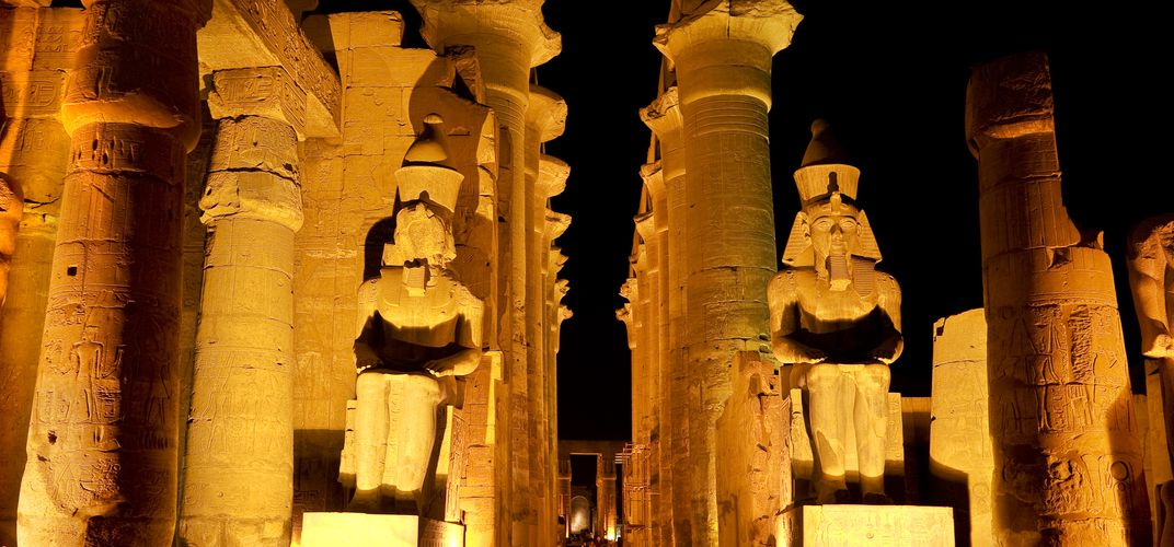 Luxor Temple illuminated at night