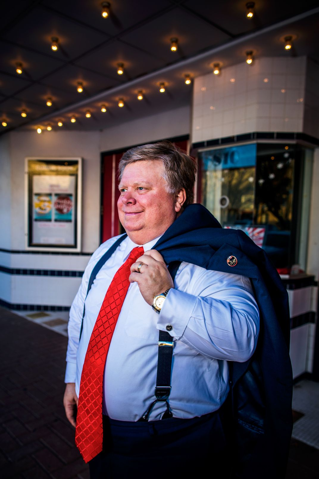 Mayor Dale Ross, in front of the historic Georgetown Palace Theater, has become an energy celebrity, appearing in An Inconvenient Sequel. Image by Drew Anthony Smith.