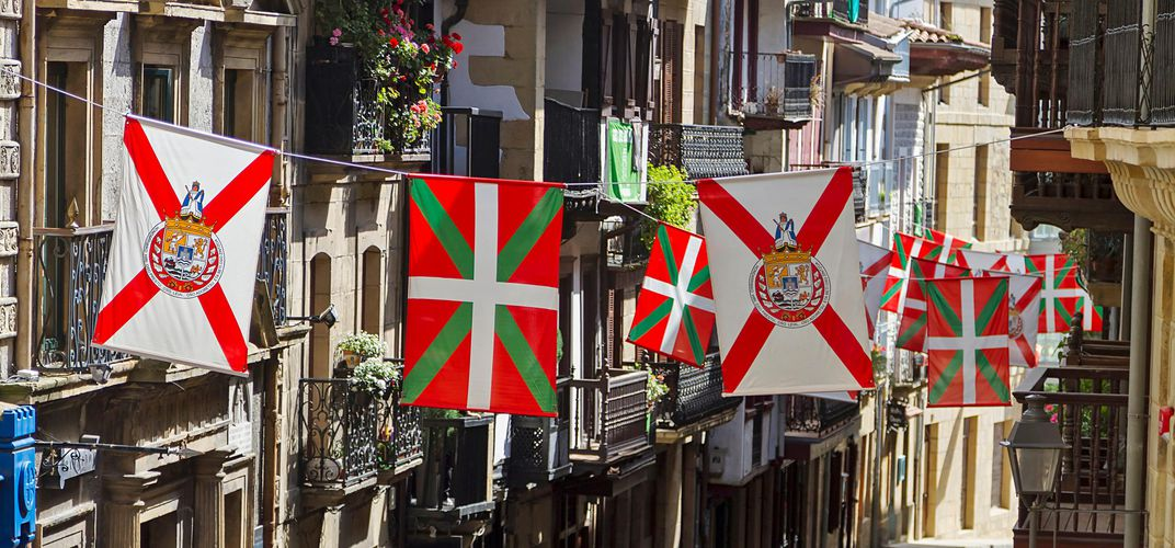 Flag-lined street in Hondarribia