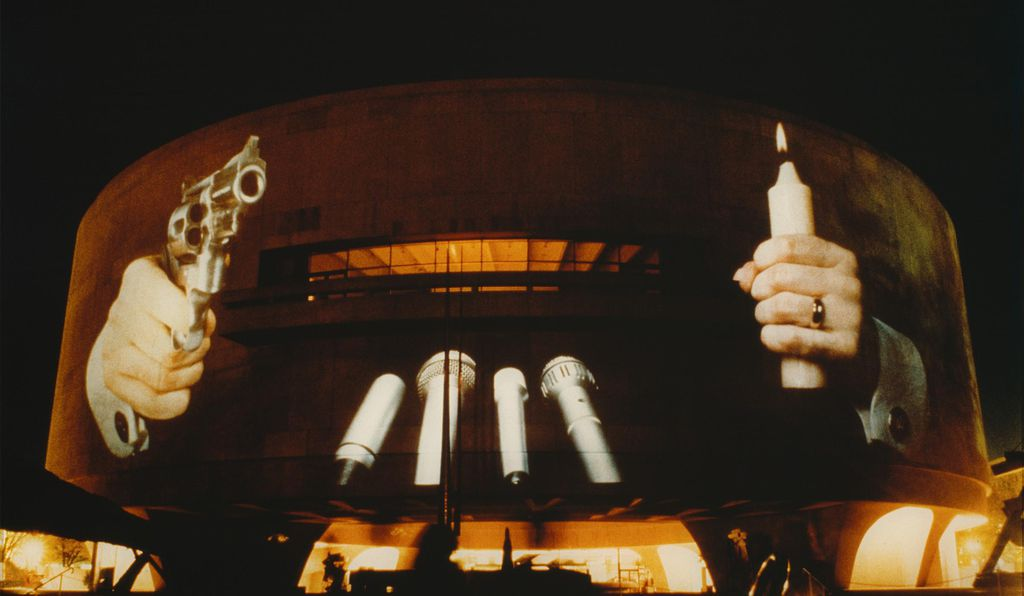 Though Krzysztof Wodiczko's bold 1988 composition <i>Hirshhorn Museum, Washington, D.C.</i> was only projected for one night, footage of the work will be continue to play in the museum's lobby.